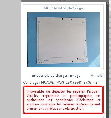 Pixscan : Impossible de detecter les reperes Erreur10