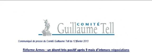 Optimisme du comité guillaume tell pour la réforme sur les armes 7c8a0310