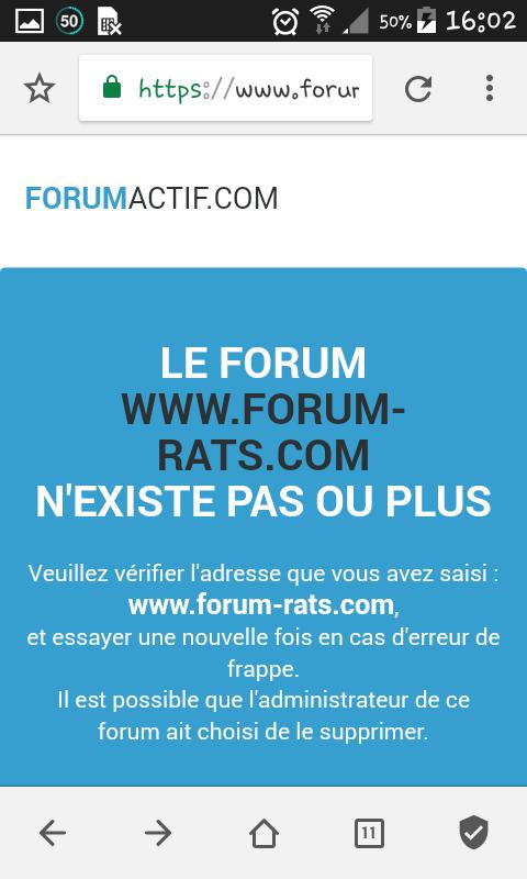 Impossible de retourner sur forum rats.  Screen11