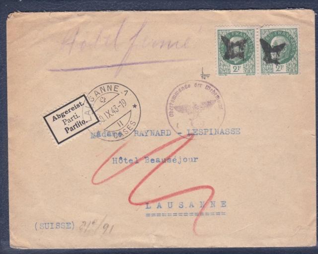"""Lettre (de Paris) avec oblitération """" rosette de Lyon"""" de septembre 1943 avec contenu. _1000710"""