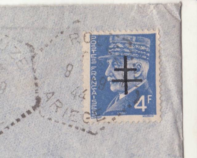 """Lettre de Rouze (Ariège) affranchie 4f Pétain surchargé """"Croix de Lorraine""""  _1001211"""