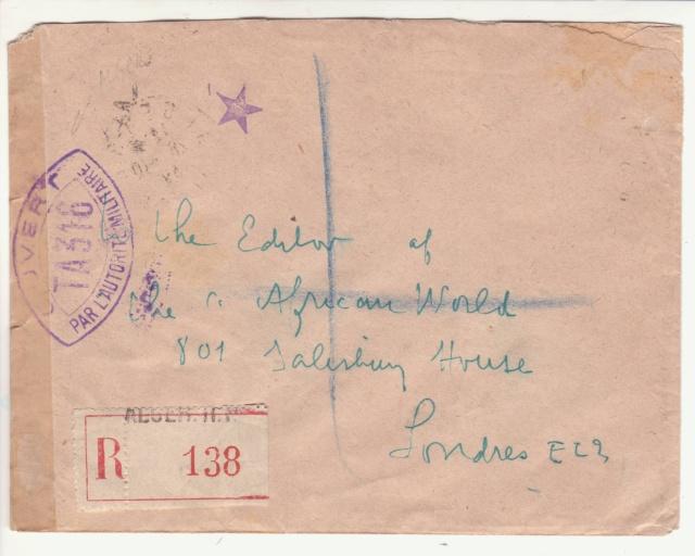"""Cachet """" étoile """" sur courrier de et vers l'Algérie en 1939-40.  _1_00010"""