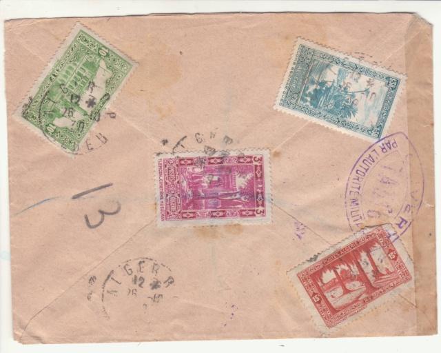 """Cachet """" étoile """" sur courrier de et vers l'Algérie en 1939-40.  _1a_10"""