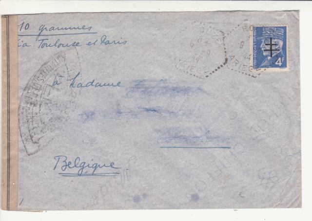 """Lettre de Rouze (Ariège) affranchie 4f Pétain surchargé """"Croix de Lorraine""""  _2000911"""