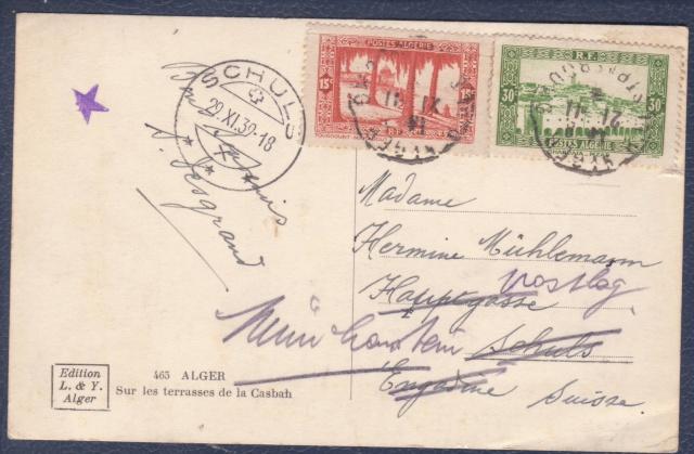"""Cachet """" étoile """" sur courrier de et vers l'Algérie en 1939-40.  _2_00010"""