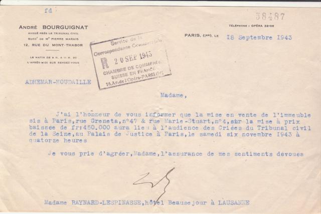 """Lettre (de Paris) avec oblitération """" rosette de Lyon"""" de septembre 1943 avec contenu. _3000610"""