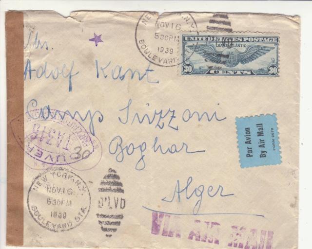 """Cachet """" étoile """" sur courrier de et vers l'Algérie en 1939-40.  _3_00010"""