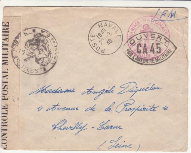 Lettre du Fort de la Hève oblitérée Poste Navale en février 1940. _4000610