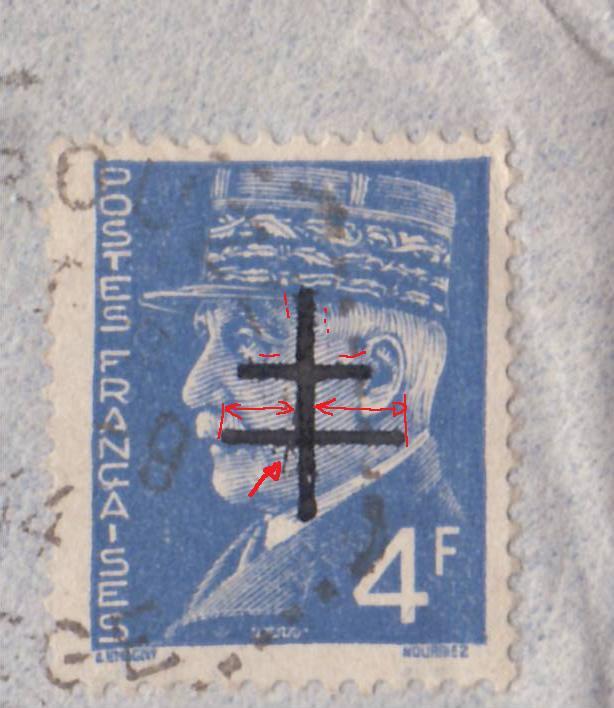 """Lettre de Rouze (Ariège) affranchie 4f Pétain surchargé """"Croix de Lorraine""""  _4000712"""