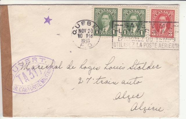 """Cachet """" étoile """" sur courrier de et vers l'Algérie en 1939-40.  _4_00010"""