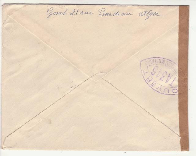 """Cachet """" étoile """" sur courrier de et vers l'Algérie en 1939-40.  _5a_10"""