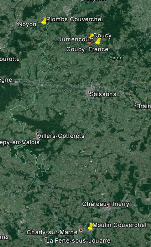 Dt 02: Aisne Moulin de Nogent l'Artaud Couverchel Carte_12