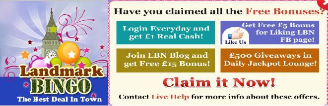 Landmark Bingo £1 Cash Free Every Day On Login! Landma10
