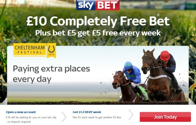 Sky Bet Cheltenham Festival Friday's Racing Offers Improved! Skybet12