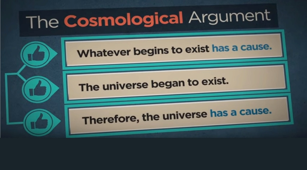 Existence of the universe. The universe had a beginning, therefore a cause 018