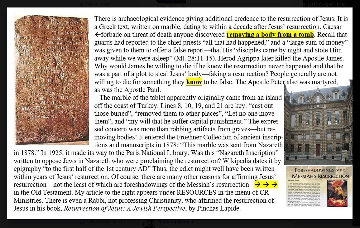 Evidence of the historical Jesus Resurr10