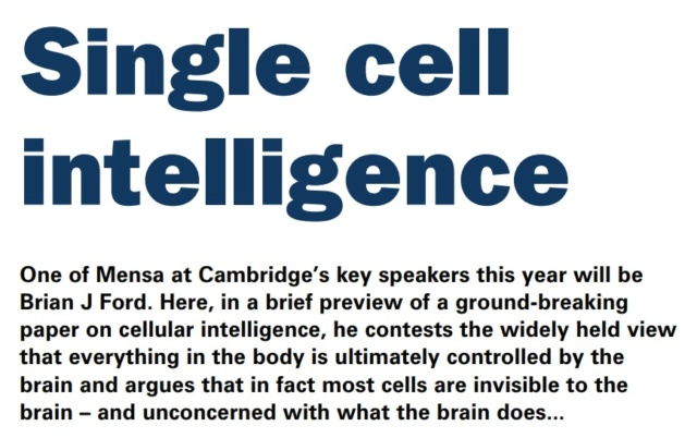 Intelligent cells, a trillion times more complex than anyone has understood: By evolution, or design? Single10