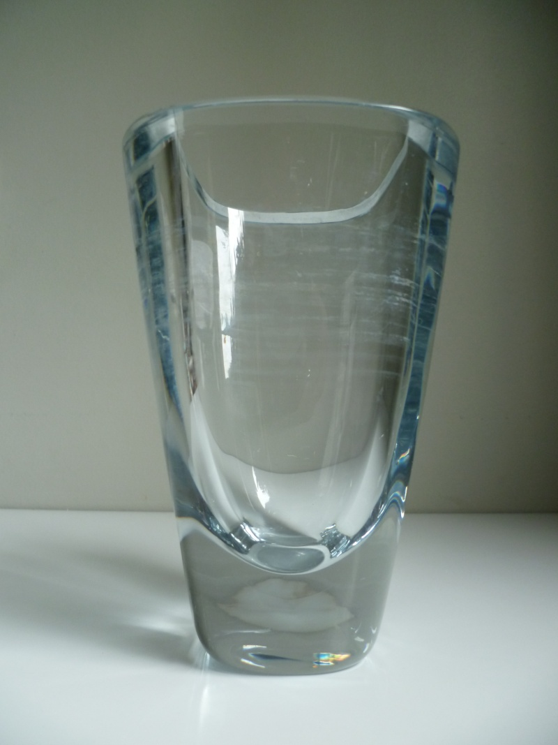 Signed heavy clear colourless vase. Scandinavian?  P1140915