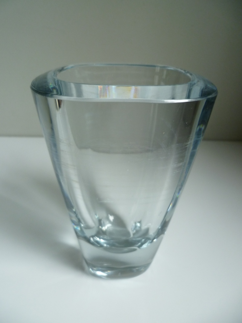 Signed heavy clear colourless vase. Scandinavian?  P1140917