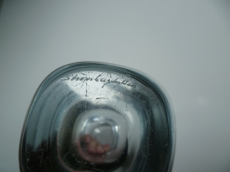 Signed heavy clear colourless vase. Scandinavian?  P1140918
