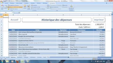 Carnet D Entretien Excel