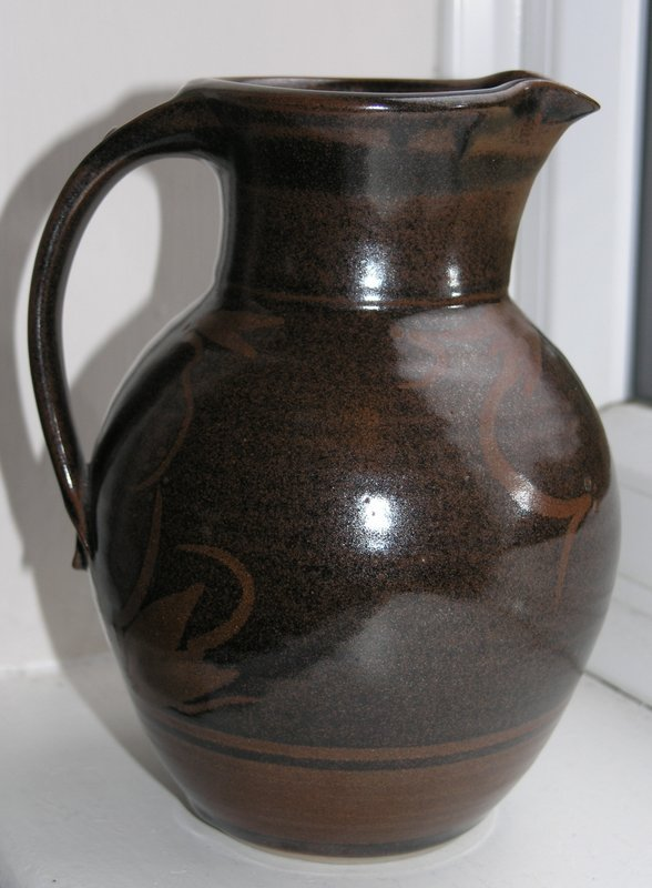 Brown studio pottery jug Pm mark - Phillip McConnell, Australia P4049513