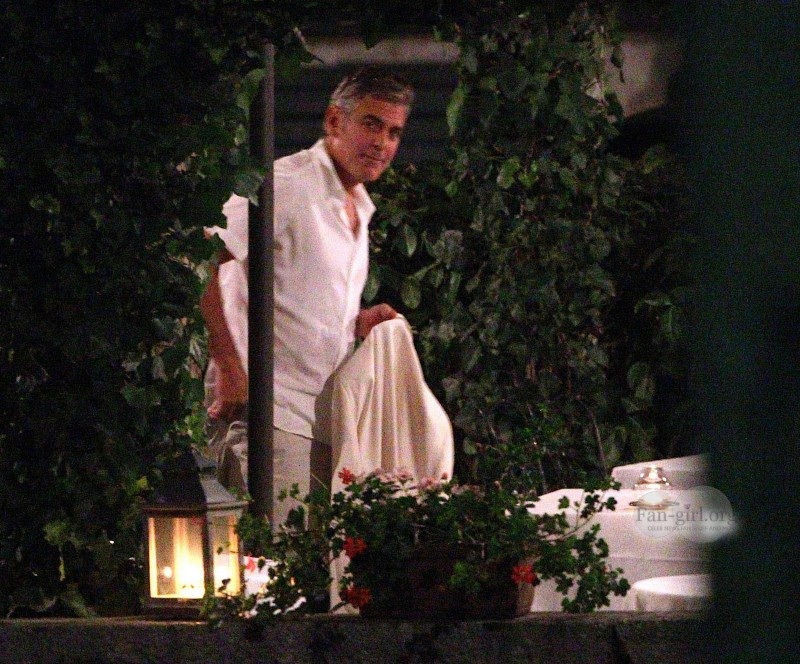 George Clooney at Dinner 8/18/13 in Lake Como Image64