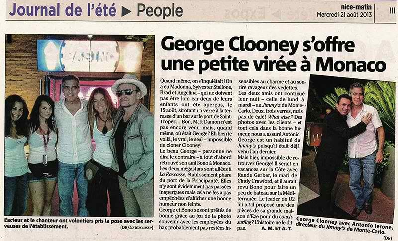 George Clooney at Cannes Jimmy'z with Bono on Monday 19 August 2013 Image79