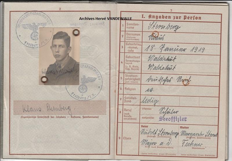 Wehrpass d'un leutnant z See KIA Sternb12