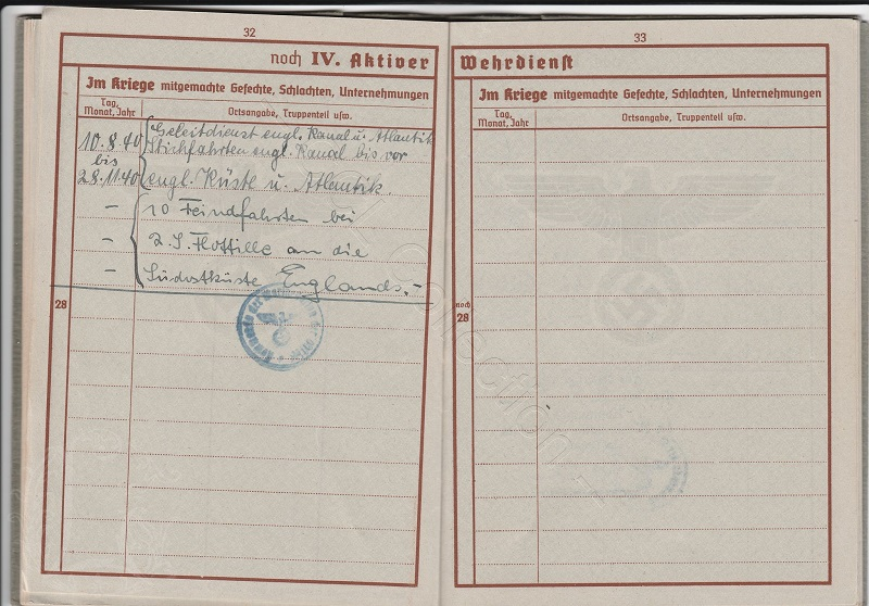 Wehrpass d'un leutnant z See KIA Sternb15