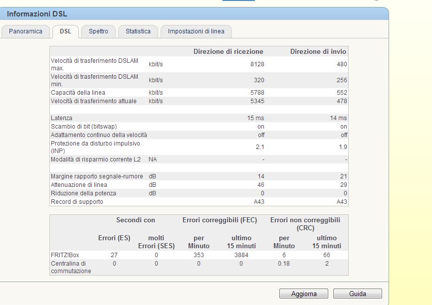 errori crc adsl 2+ Adsl1210