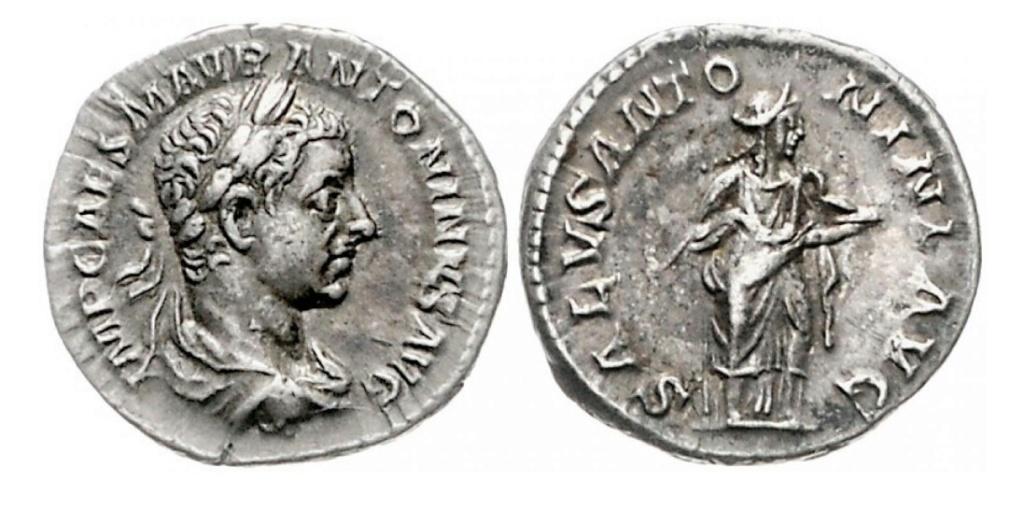 Denario de Heliogábalo. SALVS ANTONINI AVG. Salus estante a dcha. Roma. Img_2051