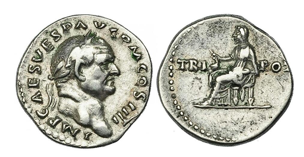 Denario de Vespasiano. TRI - POT. Vesta sentada a izq. Roma Img_2059