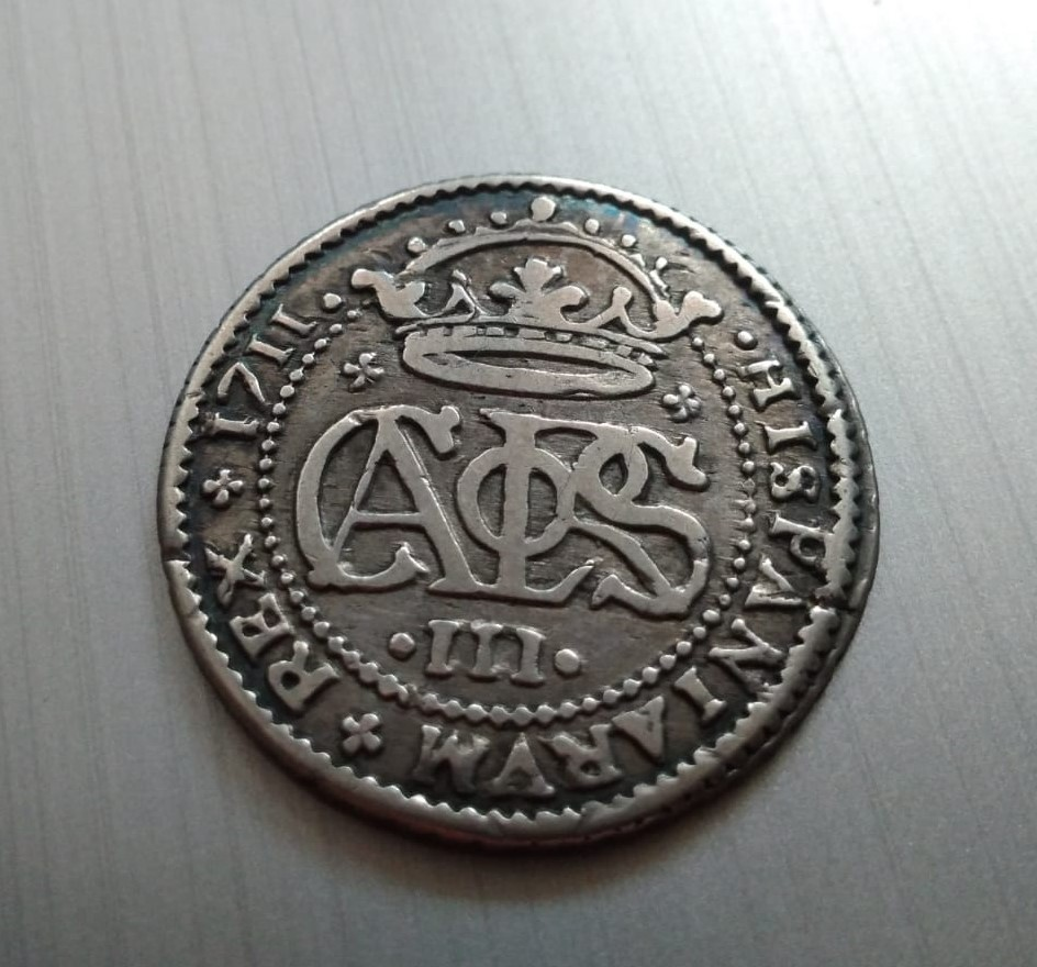2 Reales de Carlos el Pretendiente, Barcelona, 1711 Recort16