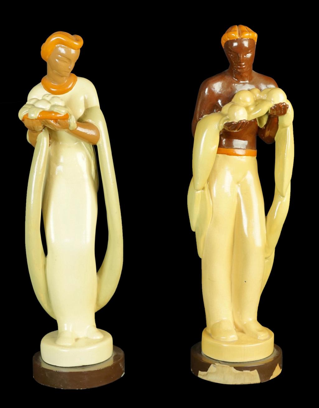 Pair of Pottery/Terra Cotta Figures Dsc04317