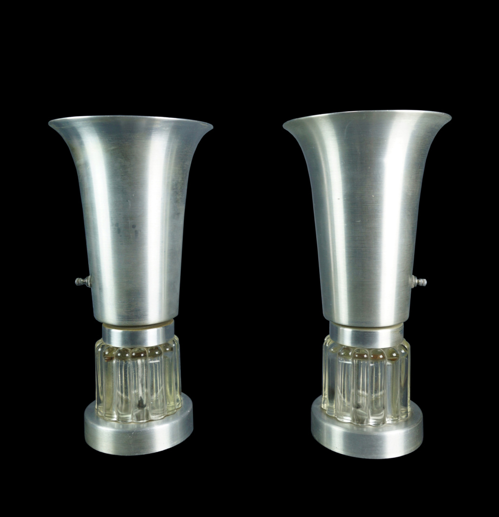 Pair Of Spun Aluminum And Glass Console Torchiere Lamps Pair_s11