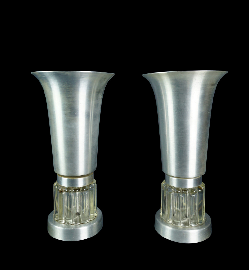 Pair Of Spun Aluminum And Glass Console Torchiere Lamps Pair_s15