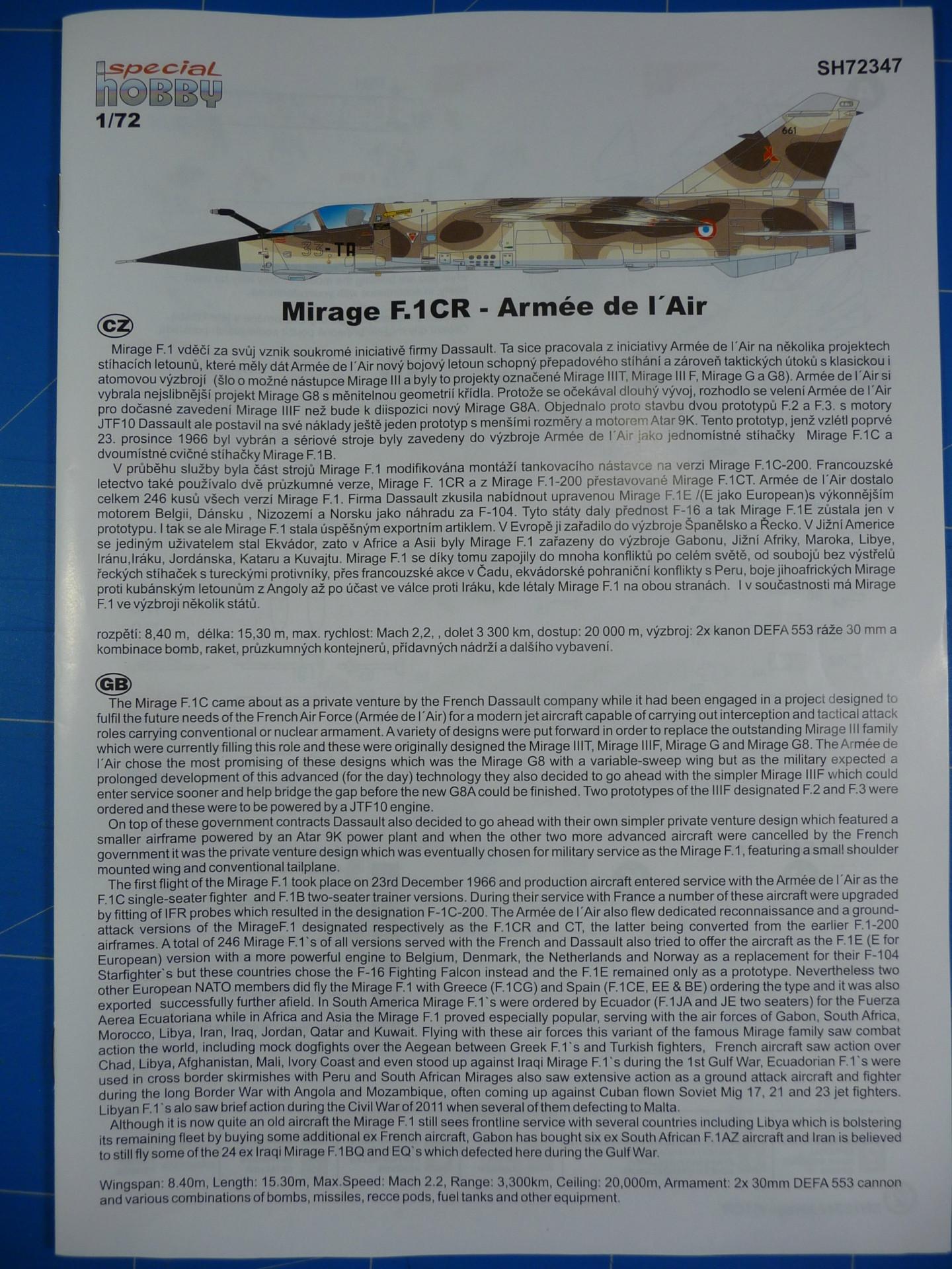 """Mirage F.1CR  ER 02/33 """"Savoie"""" 1/72 (Special Hobby 72347) P1300332"""