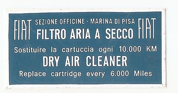 targhetta adesiva filtro aria 124 14011010