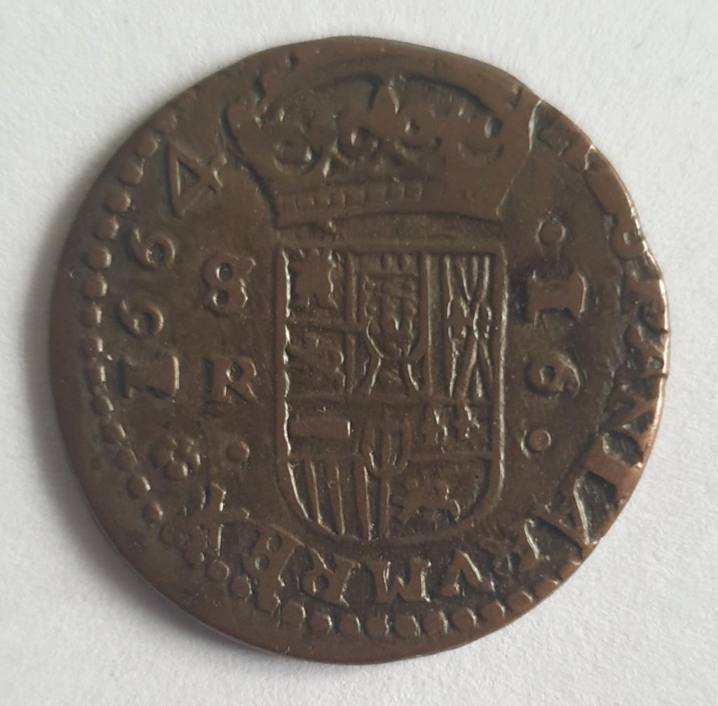 16 Maravedis de Felipe IV año 1664 ceca de Sevilla 20201211