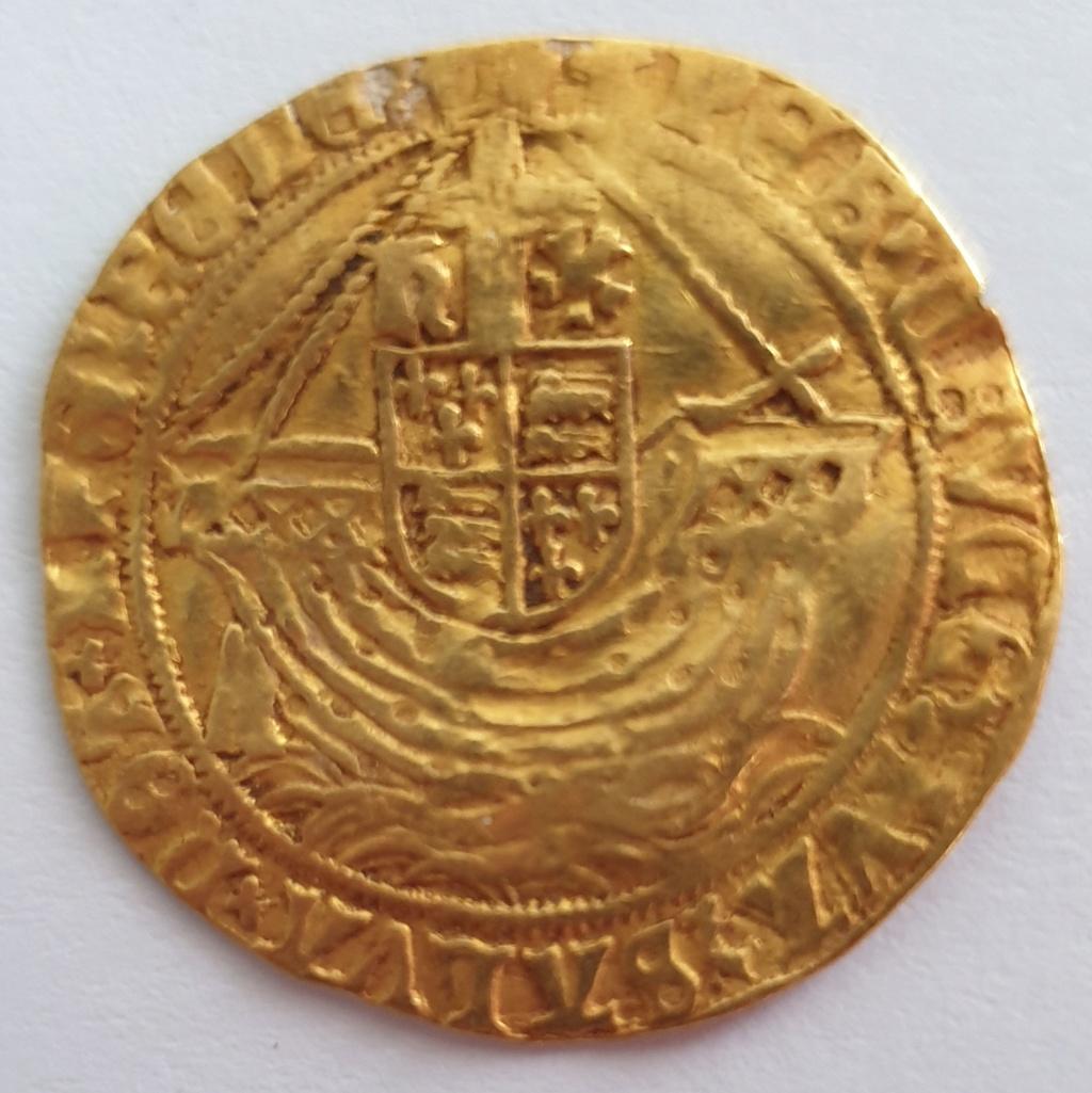 Angel o Angelot a nombre de Henrique VIII, ceca de Londres, 1544-1547 20210611