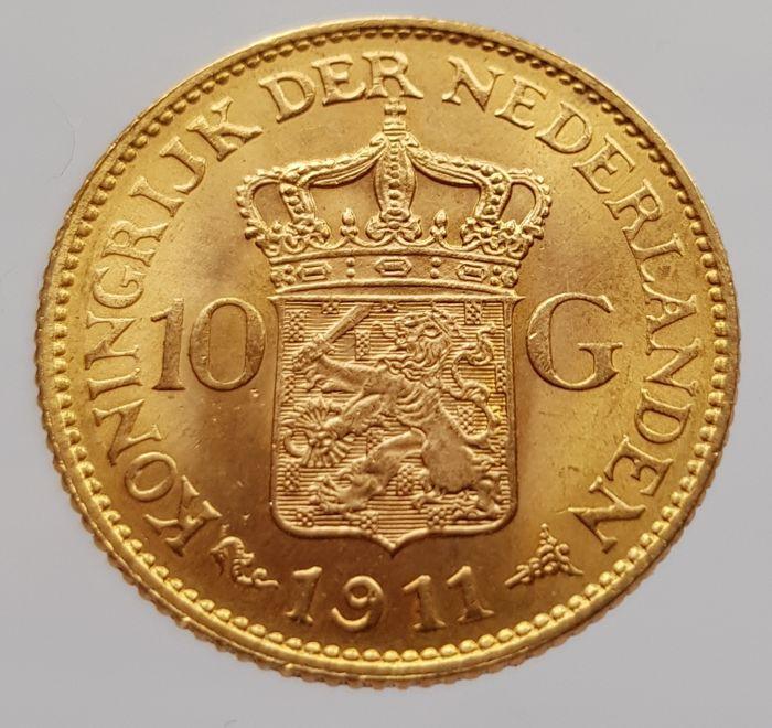 Oro. 10 Gulden 1911. Países Bajos. Opinión. 2cea3210