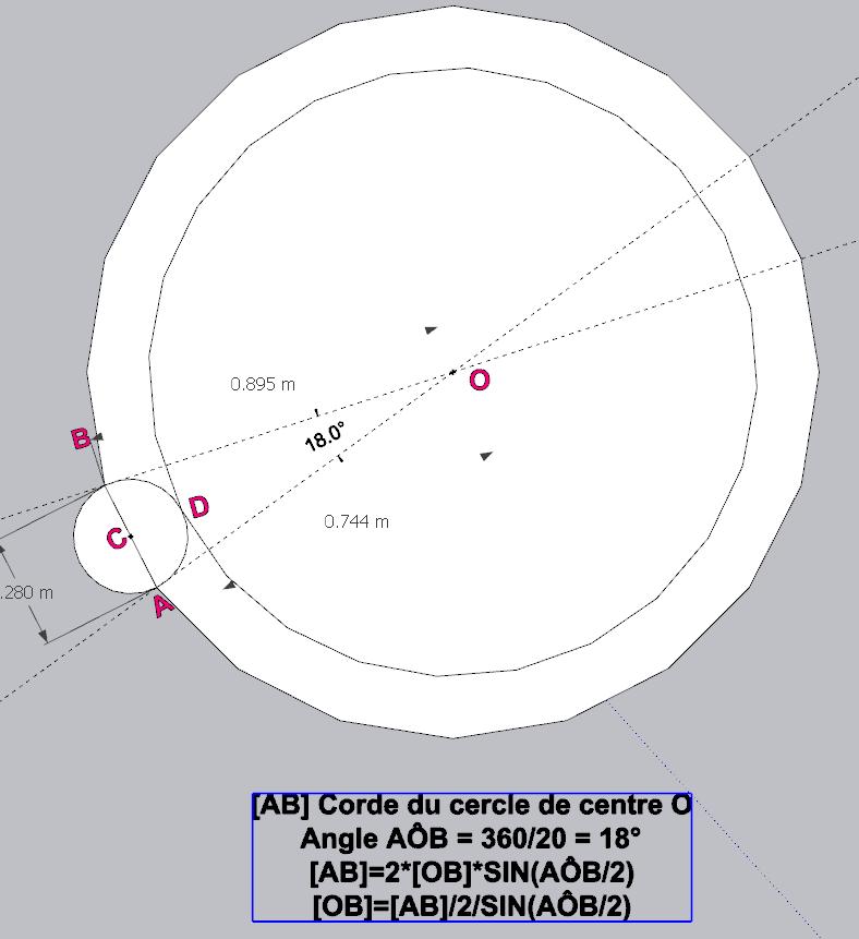 [ SKETCHUP généralité ] Plusiseurs anneaux sur le comntour d'un cercle Calcul11