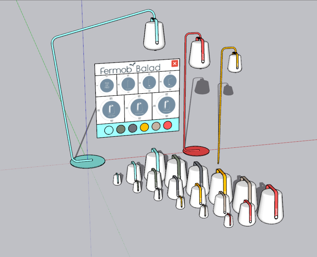 [ SKETCHUP composants dynamiques ] Luminaire Fermob Balad Fermob11