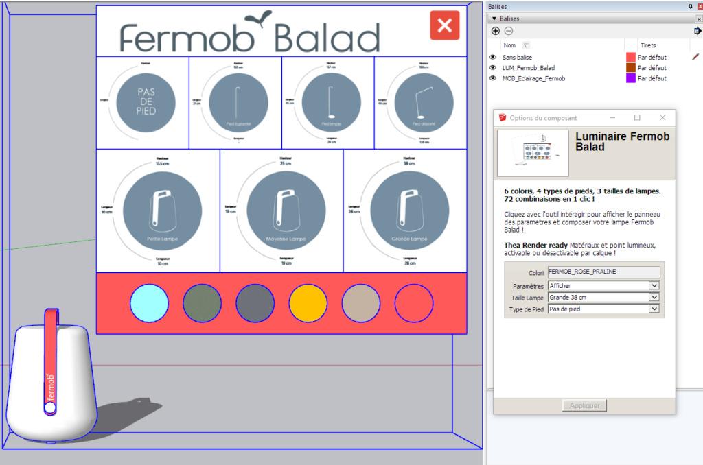 [ SKETCHUP composants dynamiques ] Luminaire Fermob Balad Fermob12
