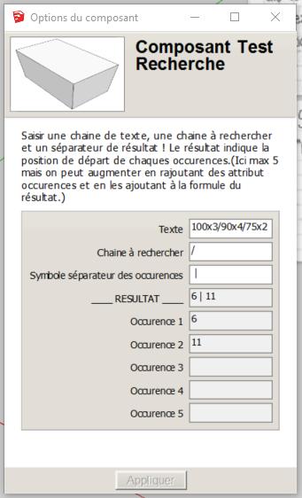 [ SKETCHUP composants dynamiques ] recherche d'un texte dans un autre texte Parame13