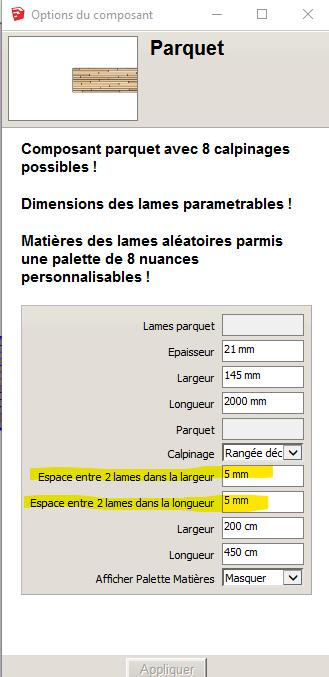 [ SKETCHUP composants dynamiques ] Composant Parquet dynamique Cadeau Parame14