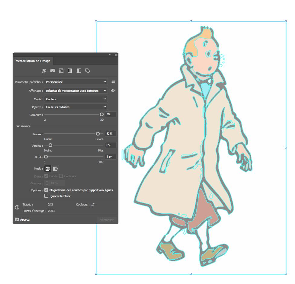 [ SKETCHUP généralité ] Vectorisation Image Tintin10