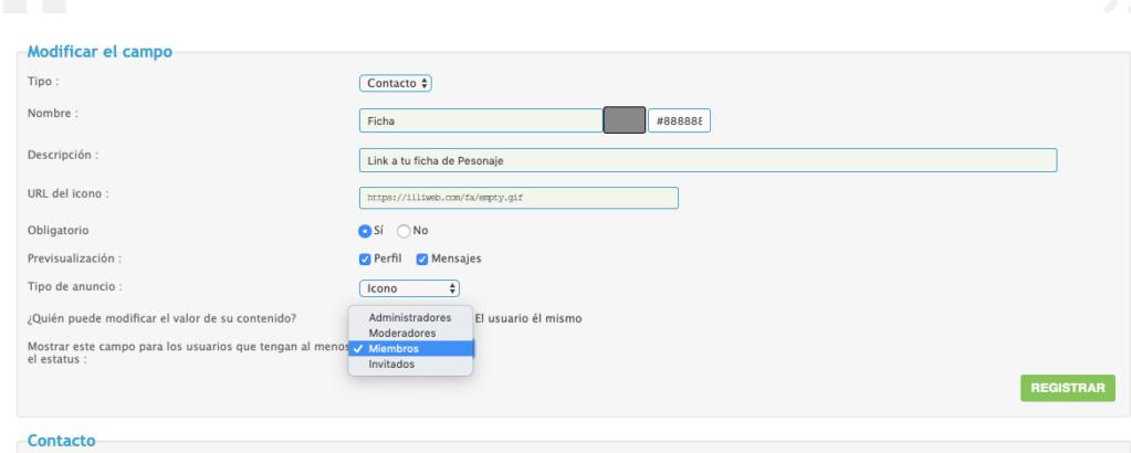 """Oculto el campo de """"contactar por mail"""" en perfil y se oculta tambien """"mensaje privado"""" Screen18"""