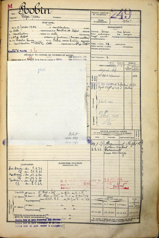 Dépôt d'Infanterie n°72 Compagnie 203 Valdoie (Belfort) Ad090_13